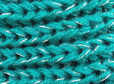 tejido a punto ingles de lana con brillo plateado glitter