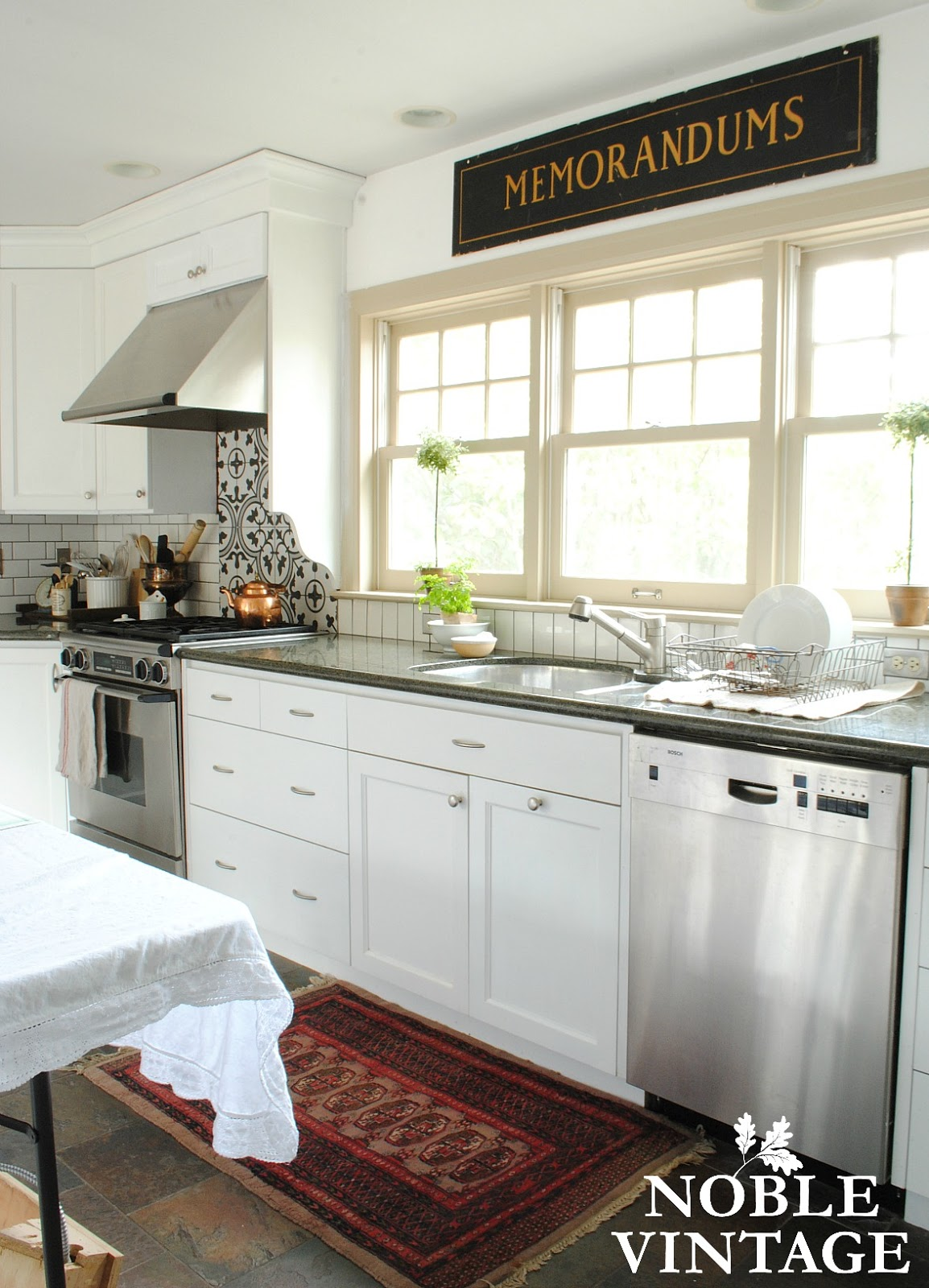 white cottage kitchen - before and after - Noble Vintage