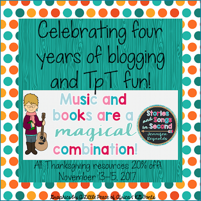 Celebrate four years of blogging and creating for TpT with a Thanksgiving resource sale!