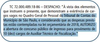 Edital Concurso TCM-SP 2018 - Auxiliar de Técnico de Fiscalização