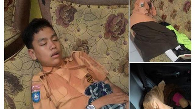 Oalah, Akibat Full Day School, Keringat Baju Belum Kering Tiga Bocah Ini Terlihat Tidur Nyenyak