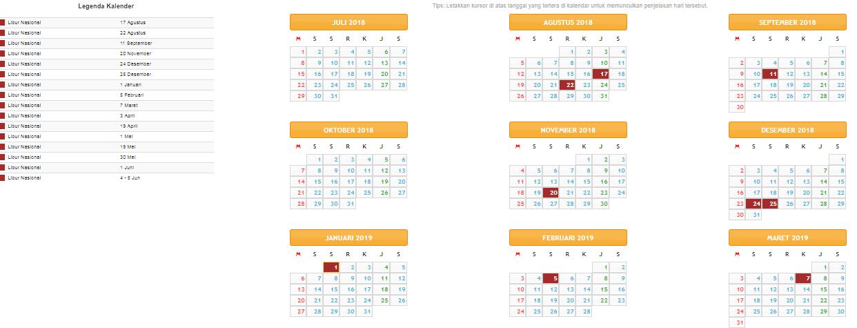 Kalender Pendidikan 2018 2019 Sd Smp Sma Info Guru Terbaru