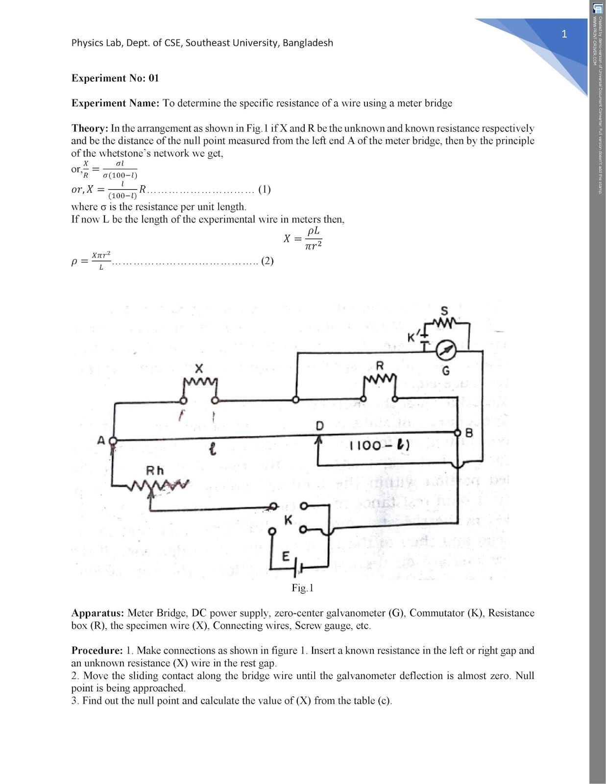 Expt.1: To determine the specific resistance of a wire using a meter bridge