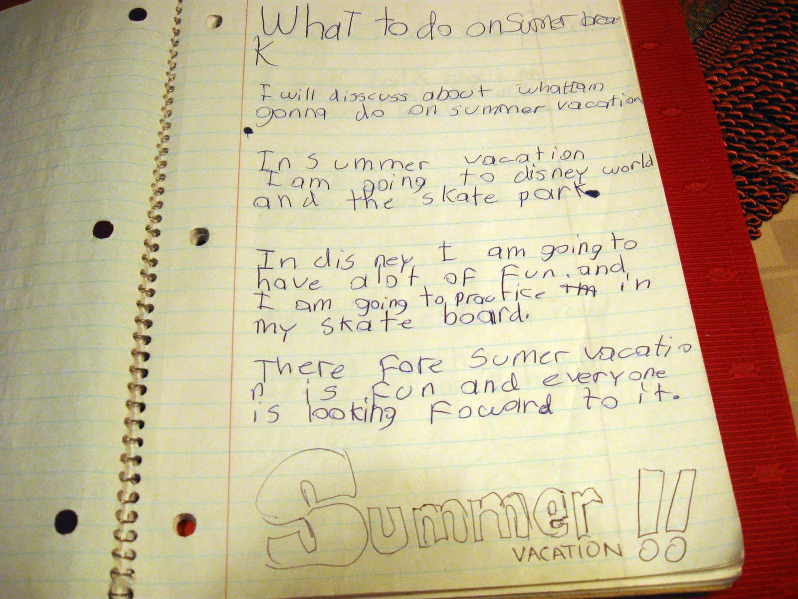 My Vacation Essay Kids My Vacation Essay Summer Vacation