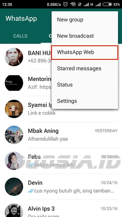 Menu WhatsApp Web