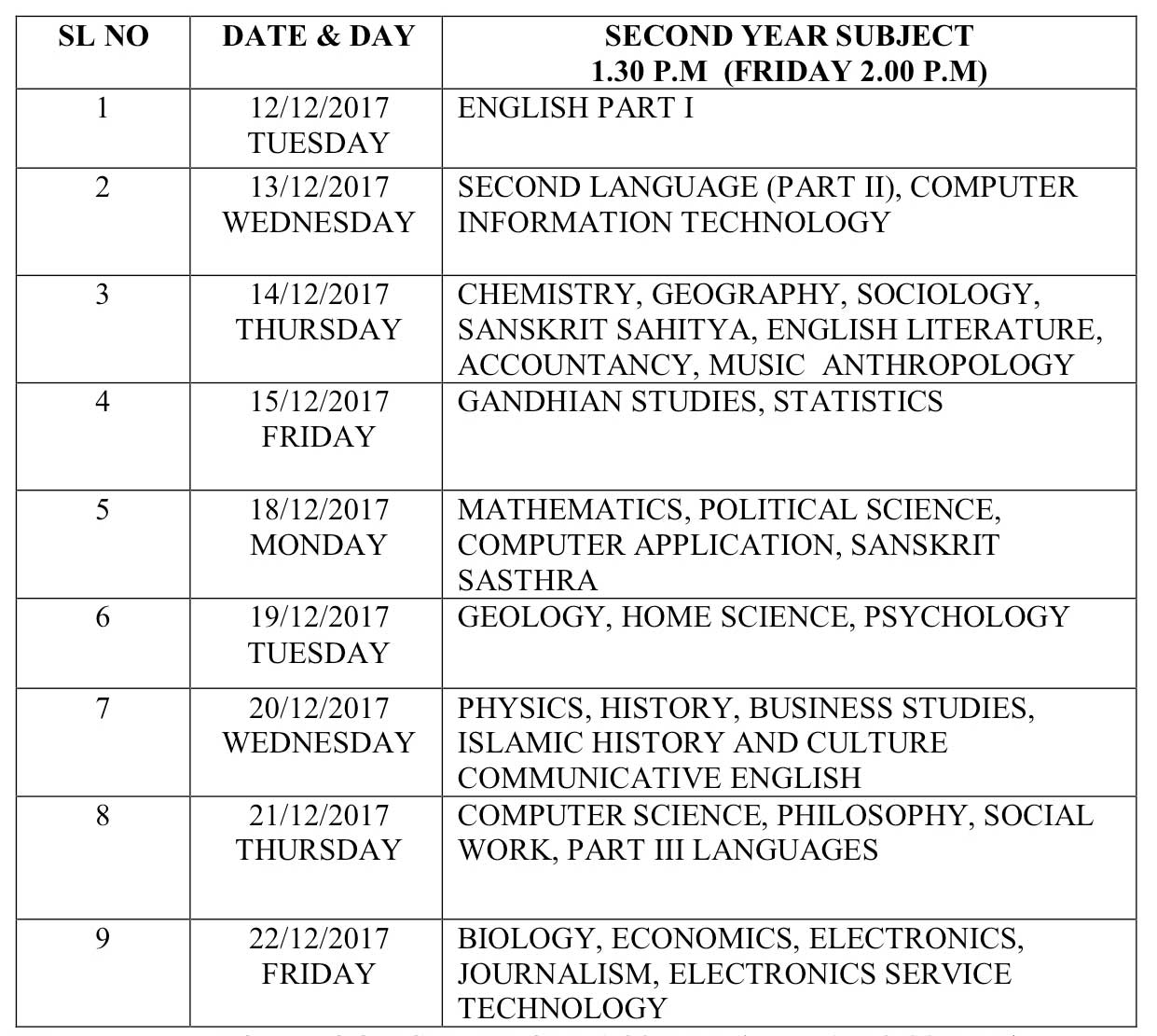 Plus Two Terminal Examination Time Table 2017