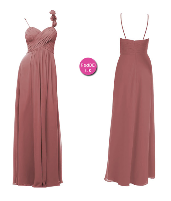 Chiffon Spaghetti Strap with Floral Detail Ruched Bodice Bridesmaid Dress