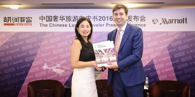 Source: Marriott International. Peggy Fang Roe, Chief Sales and Marketing Officer, Asia Pacific, Marriott International (left) and Rupert Hoogewerf, Chairman and Chief Researcher, Hurun Report (right).