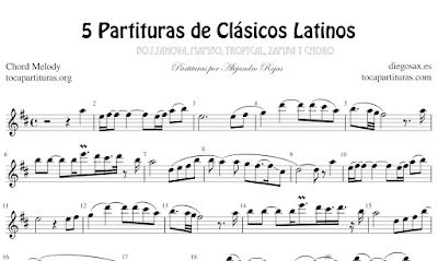 5 Partituras de Clásicos Latinos Garota de Ipanema, Oye Como Va, Moliendo Café, Zamba para Olvidar y Tico Tico Partituras con Acordes