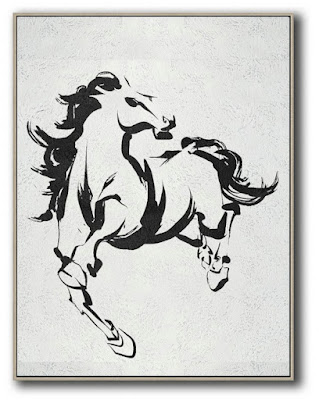 Black and White Horse Abstract Painting