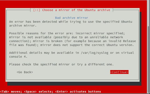 Supratim Sanyal's Blog: Ubuntu s390x Installer Error accessing Archive Mirrors over Internet