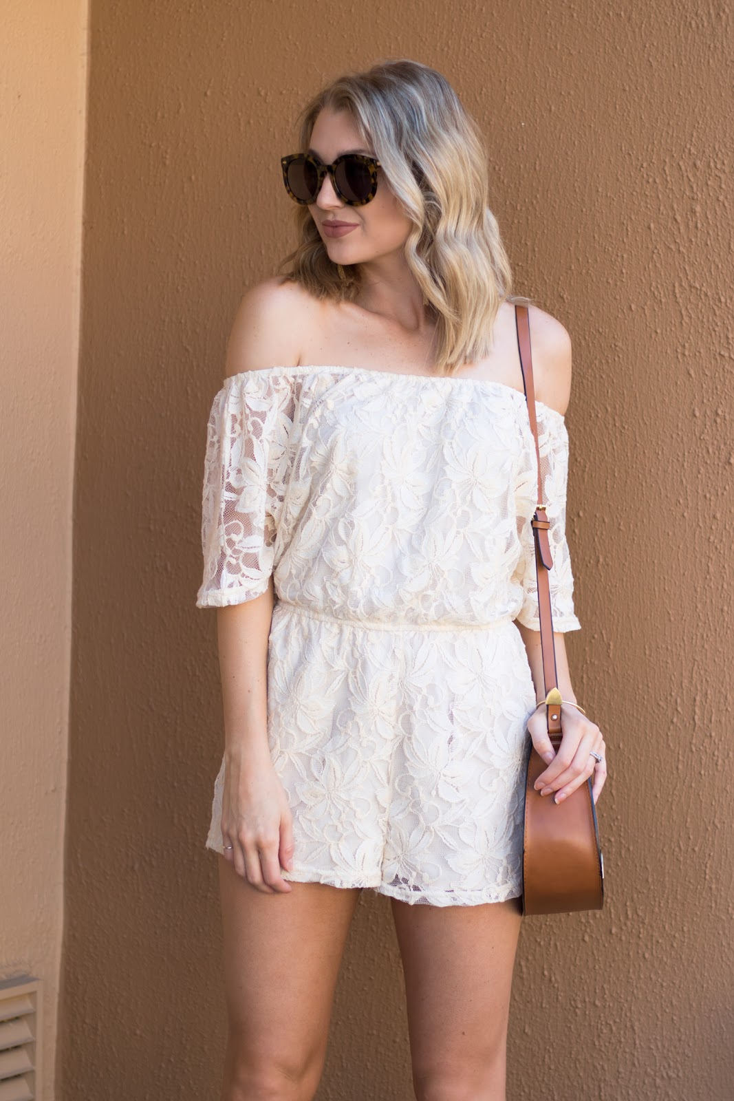 Lace off-the-shoulder romper