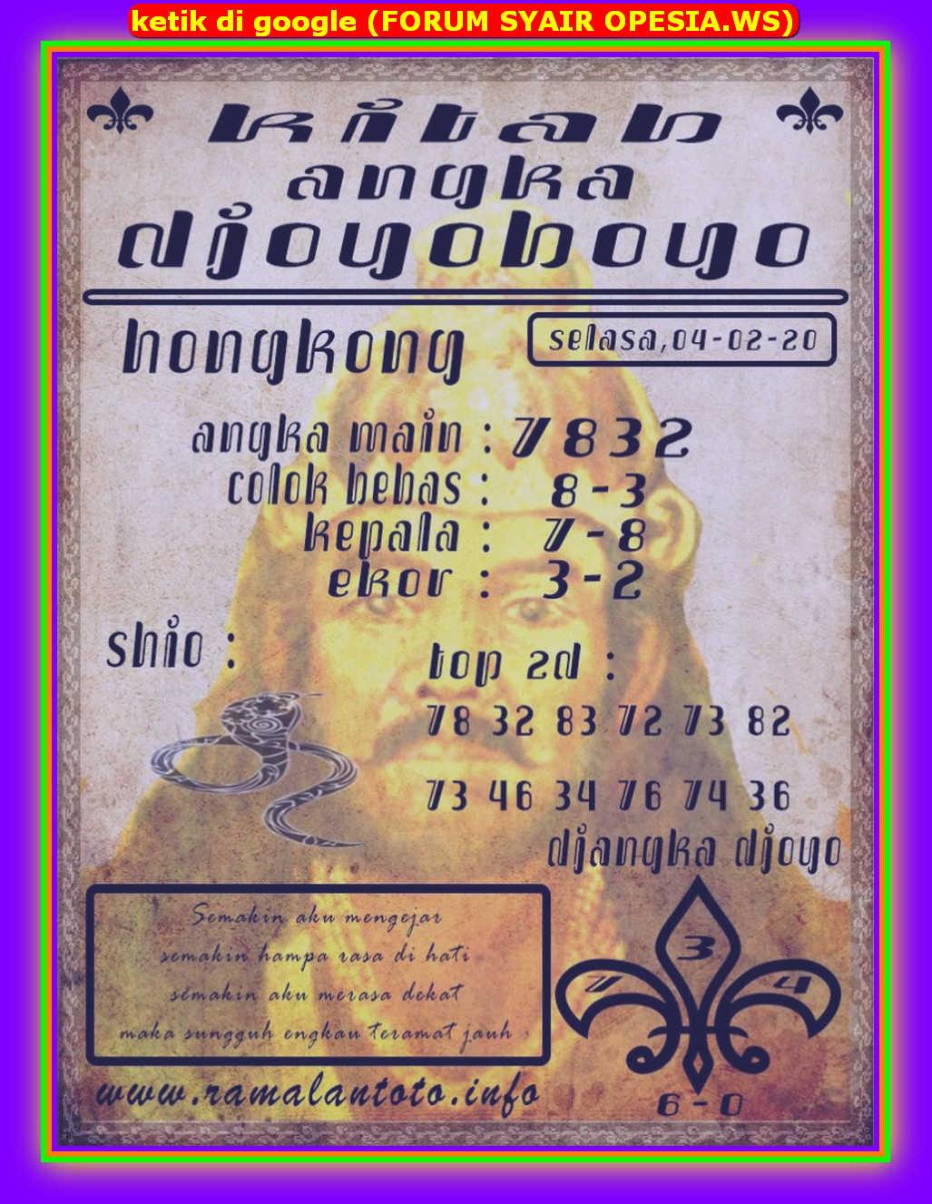 Kode syair Hongkong Selasa 4 Februari 2020 129