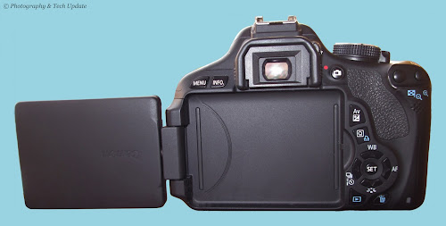 Canon 600D rebel t3i review body front with flips out
