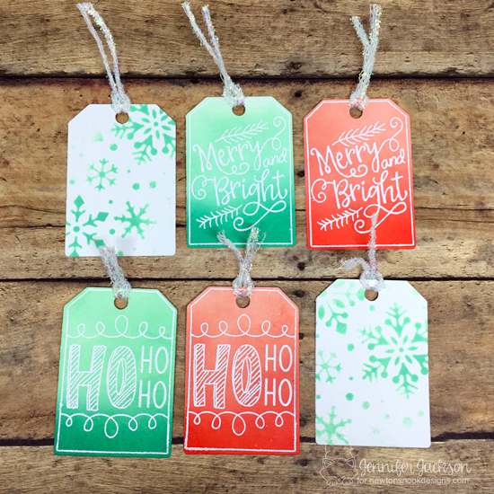 25 Days of Christmas Tags | Tags by Jennifer Jackson | Joyful Tags Stamp set and Snowfall Stencil by Newton's Nook Designs #newtonsnook #handmade