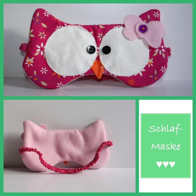 Collage Eulen Schlafmaske selbst genäht Rosa Pink mit Schleife