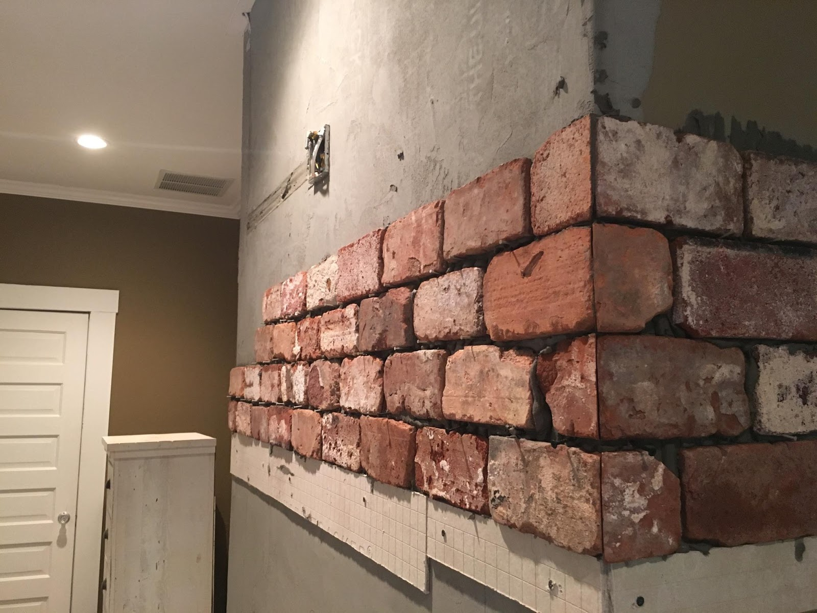 Salvaged brick veneer id95 roccommunity - Tile over brick fireplace ...