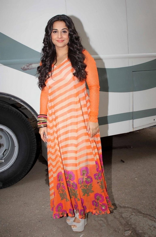 Film Actress Vidya Balan Long hair In Orange Dress