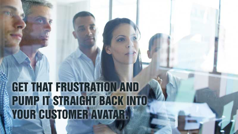 Get that frustration and pump it straight back into your Customer Avatar.
