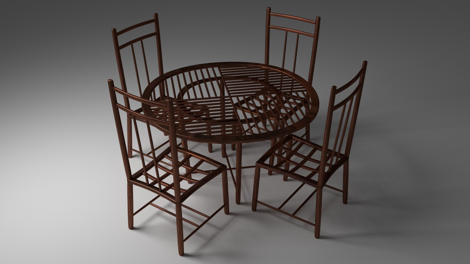 Free 3DW ood Cafe Table & Chairs .blend file