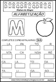 Atividades de alfabetização letra M