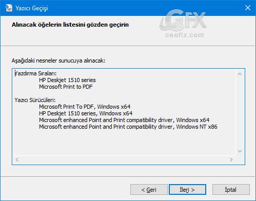 Windows'da yedeklenen yazıcı ayarlarını geri yükleme