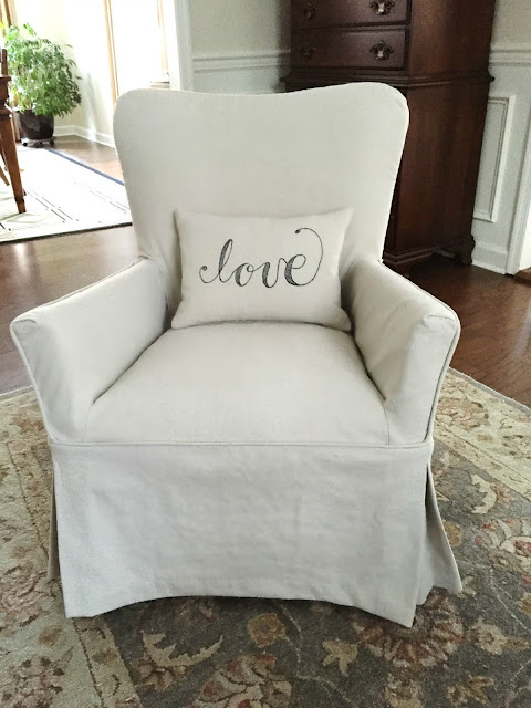 An Old Family Chair And Mismatched Ottoman Work Together With Drop Cloth  Slipcovers. See The Before HERE