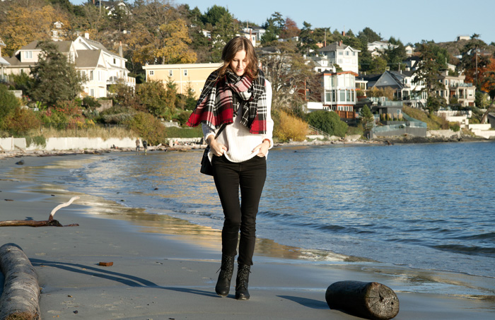 Vancouver Fashion Blogger, Alison Hutchinson, is wearing a Dynamite Scarf and Triwa Watch