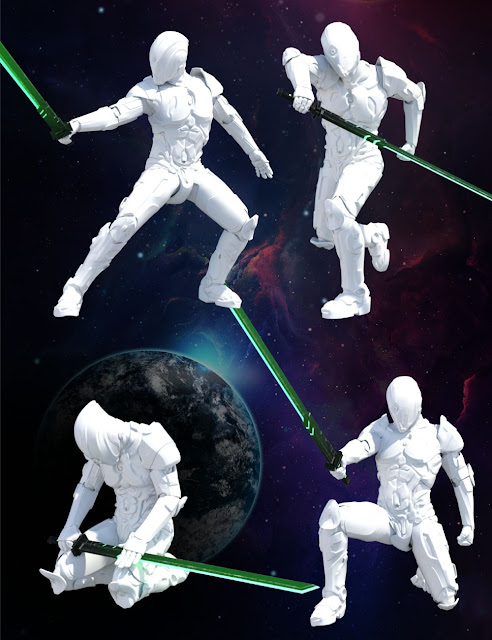 DA Cyber Sword and Poses for Genesis 3 Male
