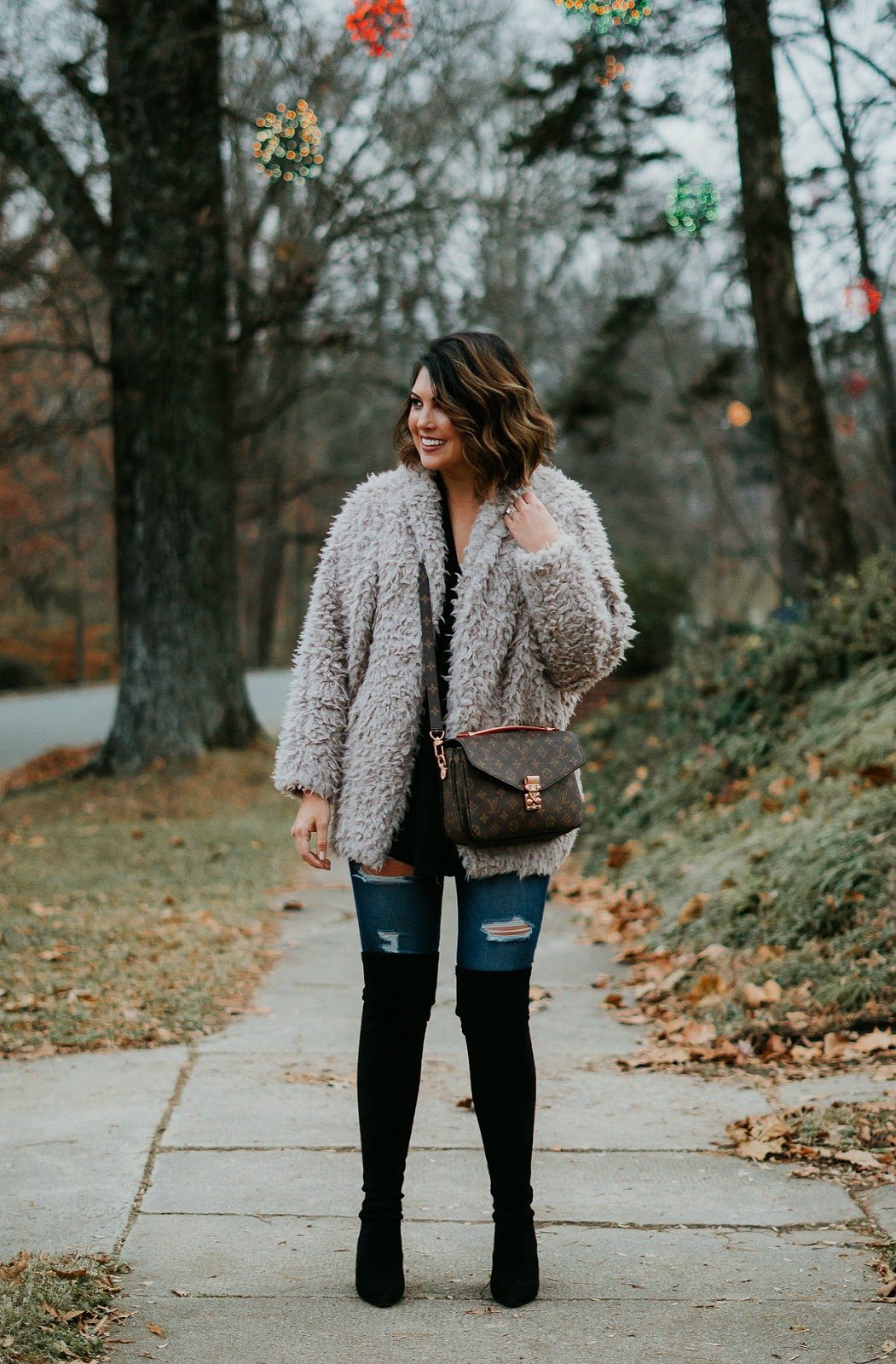 teddy coat outift, xo samantha brooke, life and messy hair, nc photography, sam brooke photo, nc blogger, louis vuitton pochette metis, louis vuitton crossbody, over the knee boots goodnight macaroon