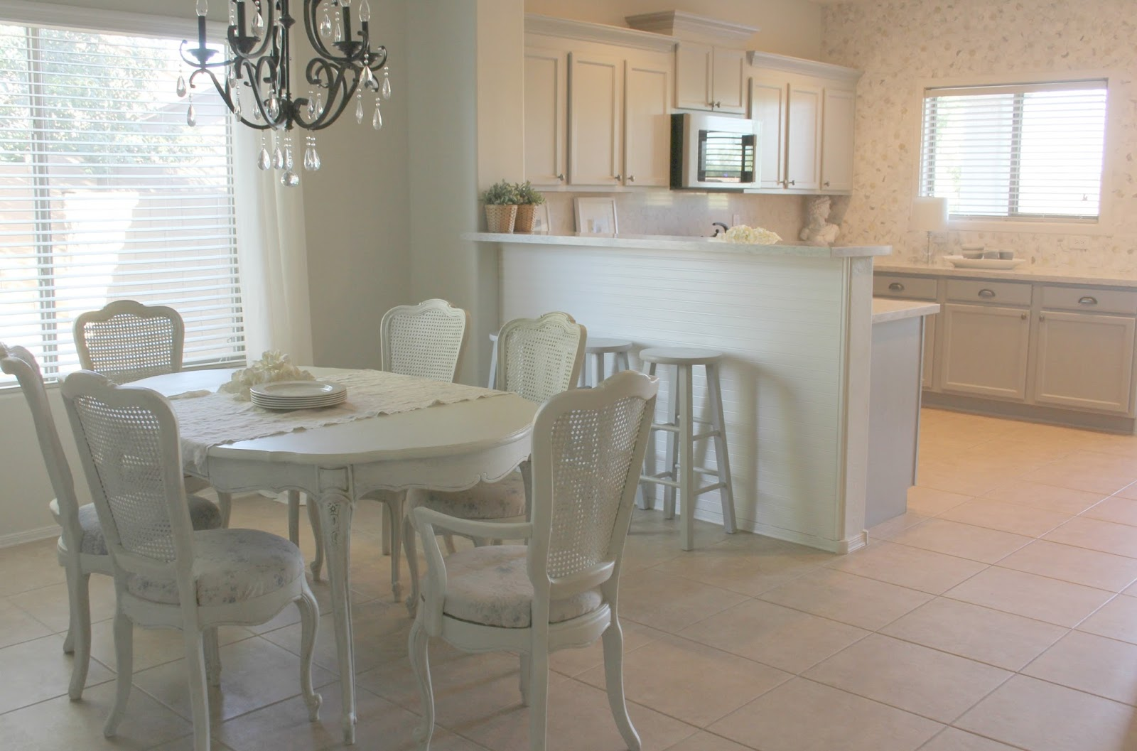 French Country shabby chic dining room and European inspired kitchen by Hello Lovely Studio