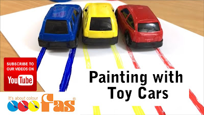 Use Toy Cars to make Print Patterns with FAS Super Tempera Paint.