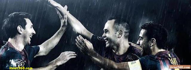 Ảnh bìa Facebook bóng đá - Cover FB Football timeline, Lionel Messi, xavi, iniesta