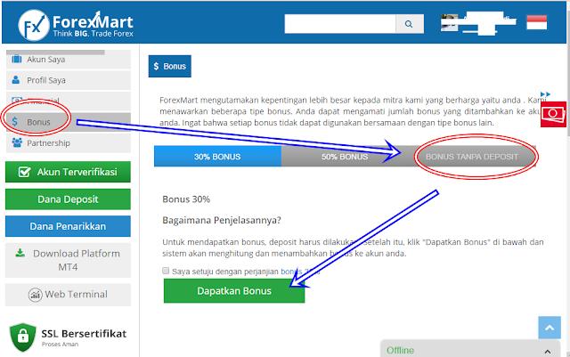 Cara Mendapatkan No Deposit Bonus Forex di ForexMart