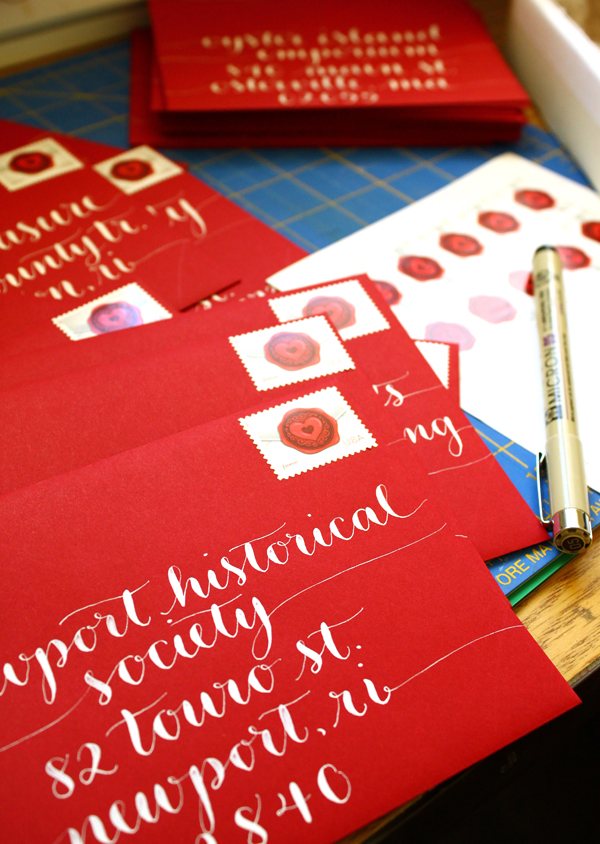 Gorgeous Christmas Card Calligraphy on Red Envelopes by Letter Be On Etsy