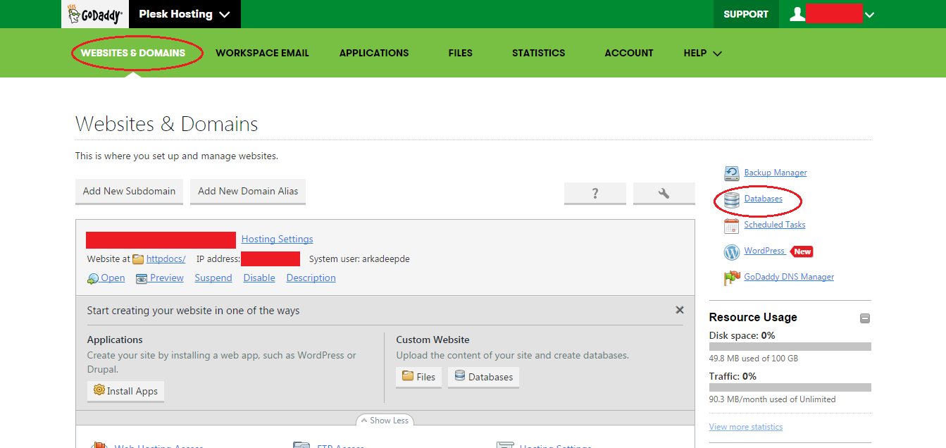 How to upload Database in Godaddy Server, explain with