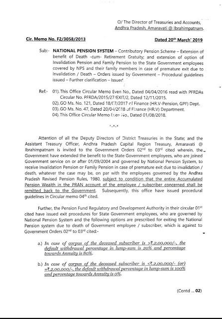 NATIONAL PENSION SYSTEM-Contributory Pension Scheme Extension of  benefit of Death జాతీయ పెన్షన్ సిస్టమ్ కంట్రిబ్యూటరీ పెన్షన్ స్కీమ్