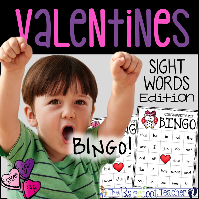 Play Valentines Day BINGO with your kids while practicing sight words at the same time! It's a perfect game to go with the other crafts, ideas, and activities you have planned for your Preschool, Kindergarten, or First Grade classroom! #valentinesday #activities #games #sightwords #highfrequencywords #kindergarten #firstgrade