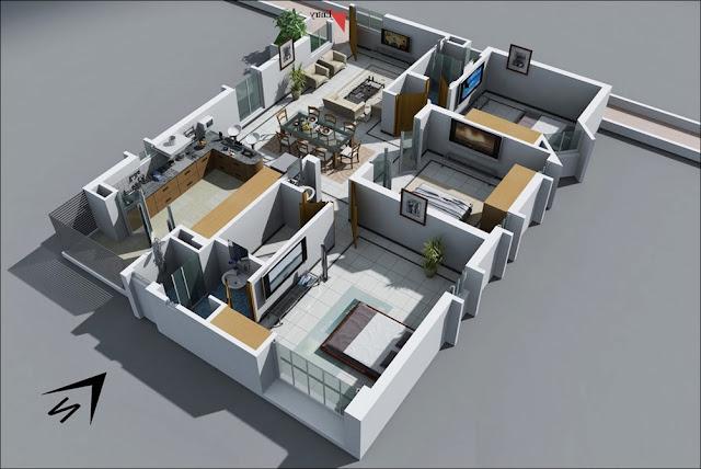 Planta de casa grande com 3 quartos e cozinha espaçosa