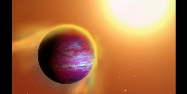 An artist's impression of likely new giant planet PTFO8-8695 b, which is believed to orbit a star in the constellation Orion every 11 hours. Gravity from the newborn star appears to be pulling away the outer layers of the Jupiter-like planet. (Image by A. Passwaters/Rice University based on original available under CC license at https://commons.wikimedia.org/wiki/File:Kepler-70b.png)