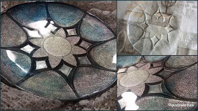 Szklany talerz w metalicznych barwach