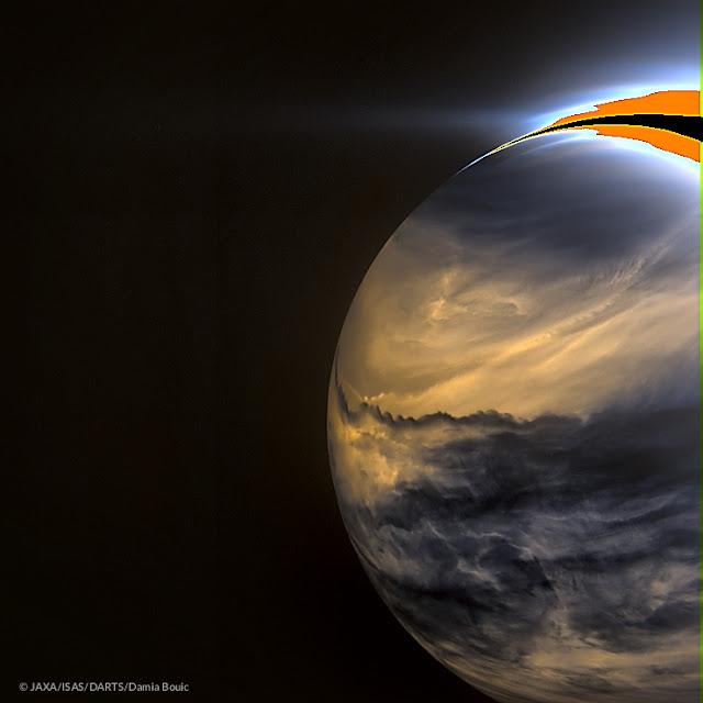 Sao Kim về đêm qua ánh sáng hồng ngoại chụp bởi tàu Akatsuki. Hình ảnh: JAXA, ISAS, DARTS; Xử lý hậu kỳ: Damia Bouic.