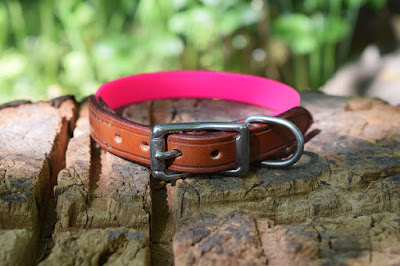 Pink dog collar in leather and Biothane for small size girly dogs