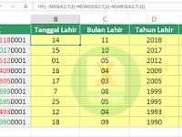 Rumus Excel Membuat Tanggal Lahir dari NIK