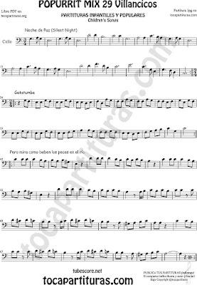 Partitura de Chelo Popurrí Mix Villancicos Noche de Paz, Gatatumba y Pero Mira como Beben los Peces en el Río Sheet Music for Cello