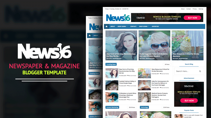 News16 - News & Magazine Blogger Template