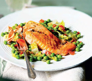 Roasted Salmon, Pea and Tomato Salad Recipe
