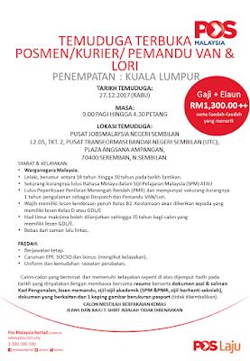 Temuduga Terbuka Pos Malaysia Kuala Lumpur di JobsMalaysia Negeri Sembilan 27 Disember 2017