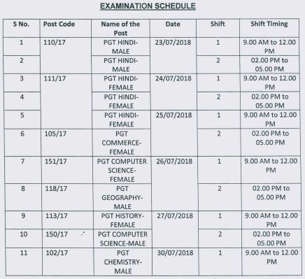 image : DSSSB PGT Exam Schedule July 2018 @ TeachMatters