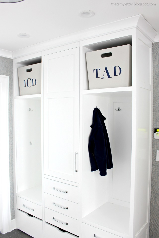 diy monogrammed mudroom bins